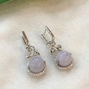 lavender round jade earrings