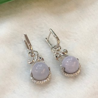 lavender round jade earrings