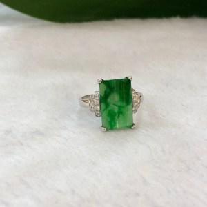 Green Rectangular Jade Ring