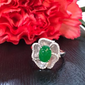 imperial green jade flower ring