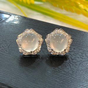 icy jade cabochons earrings