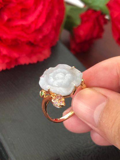 icy jade flower ring