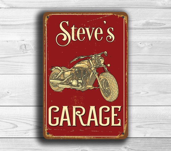 Motorcycle Garage Sign  Custom Garage Sign  Classic