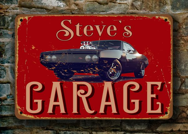 Garage Signs  Dodge Charger Garage Sign  Classic Metal Signs