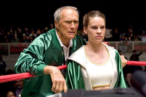 Clint Eastwood and Hilary Swank in Million Dollar Baby, Classic Movie Actor, directed by Clint Eastwood