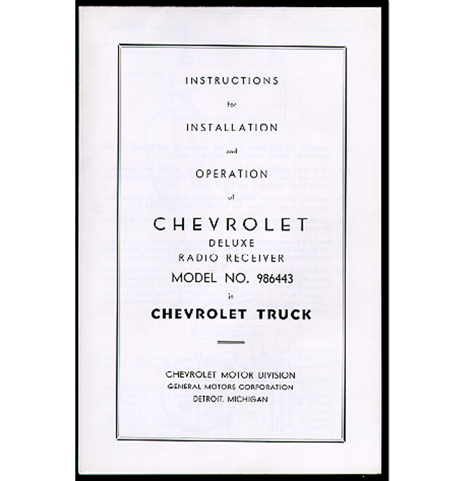 Radio Installation Manual-Classic Chevy Truck Parts