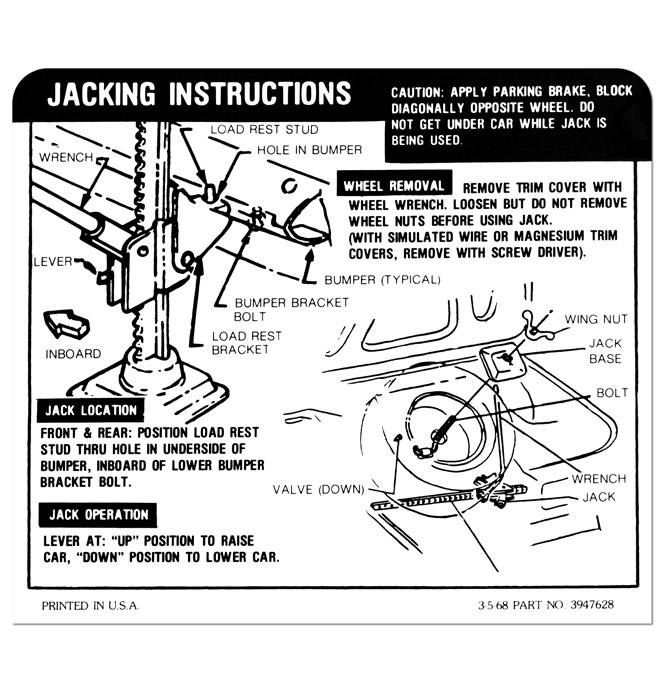 SS-Coupe Jacking Instruction-Regular Tire-Classic Chevy
