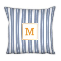 Monogram Pillow Vineyard Stripe Navy - Boatman Geller ...
