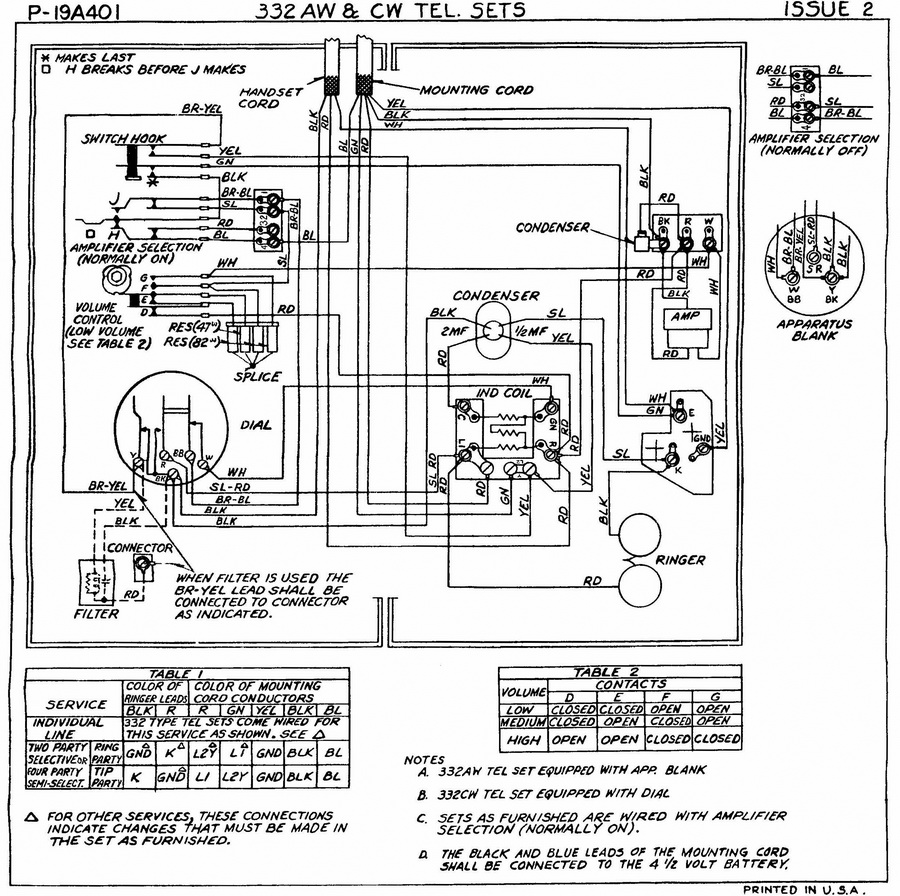 rotary dial telephone wiring diagram types of rainfall with diagrams classicrotaryphones com 332 volume