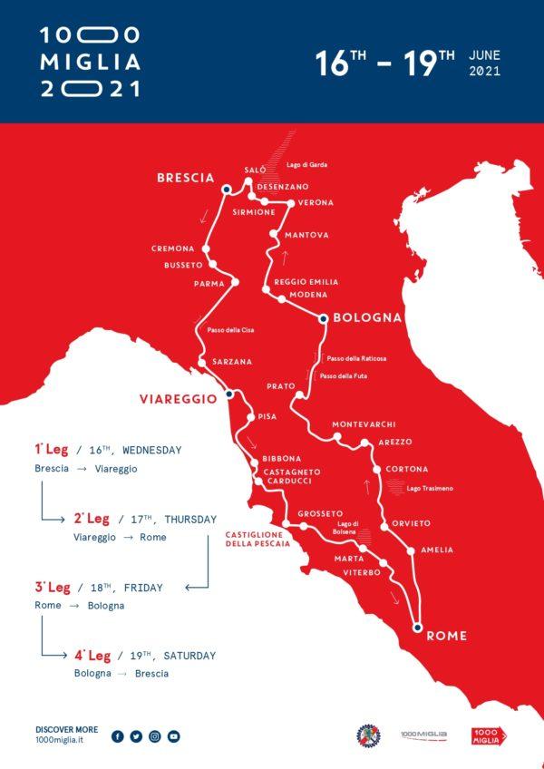 Mille Miglia 2021 Route Roadmap Streckenverlauf