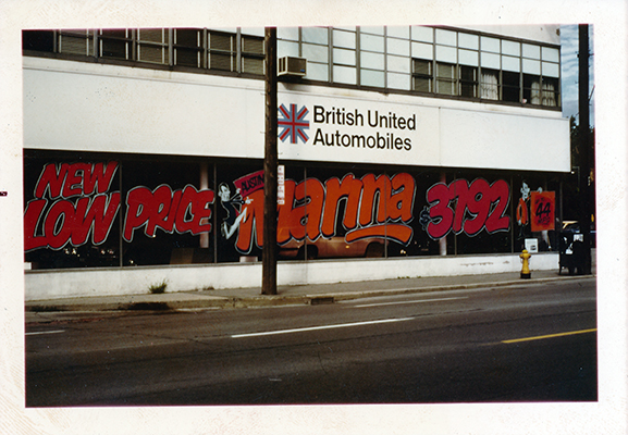 British United Automobiles Store Hand Lettered Windows
