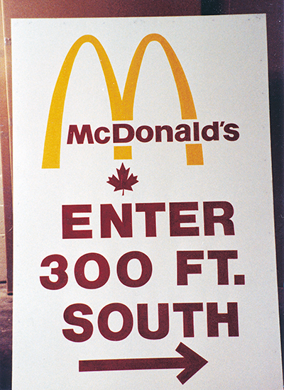 McDonald's Enter South Hand Painted Sign