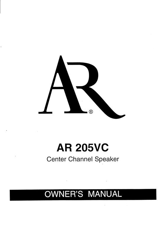 AR 205VC Manual Pg1 The Classic Speaker Pages