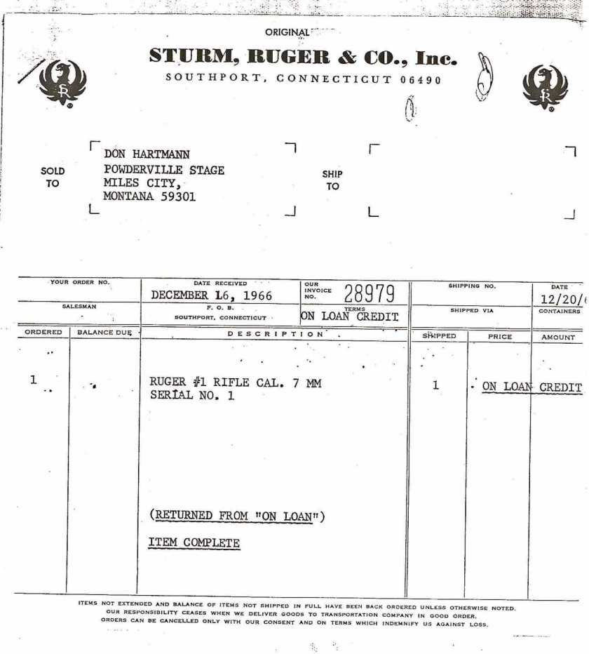 Ruger No. 1 X-1 Prototype Invoice