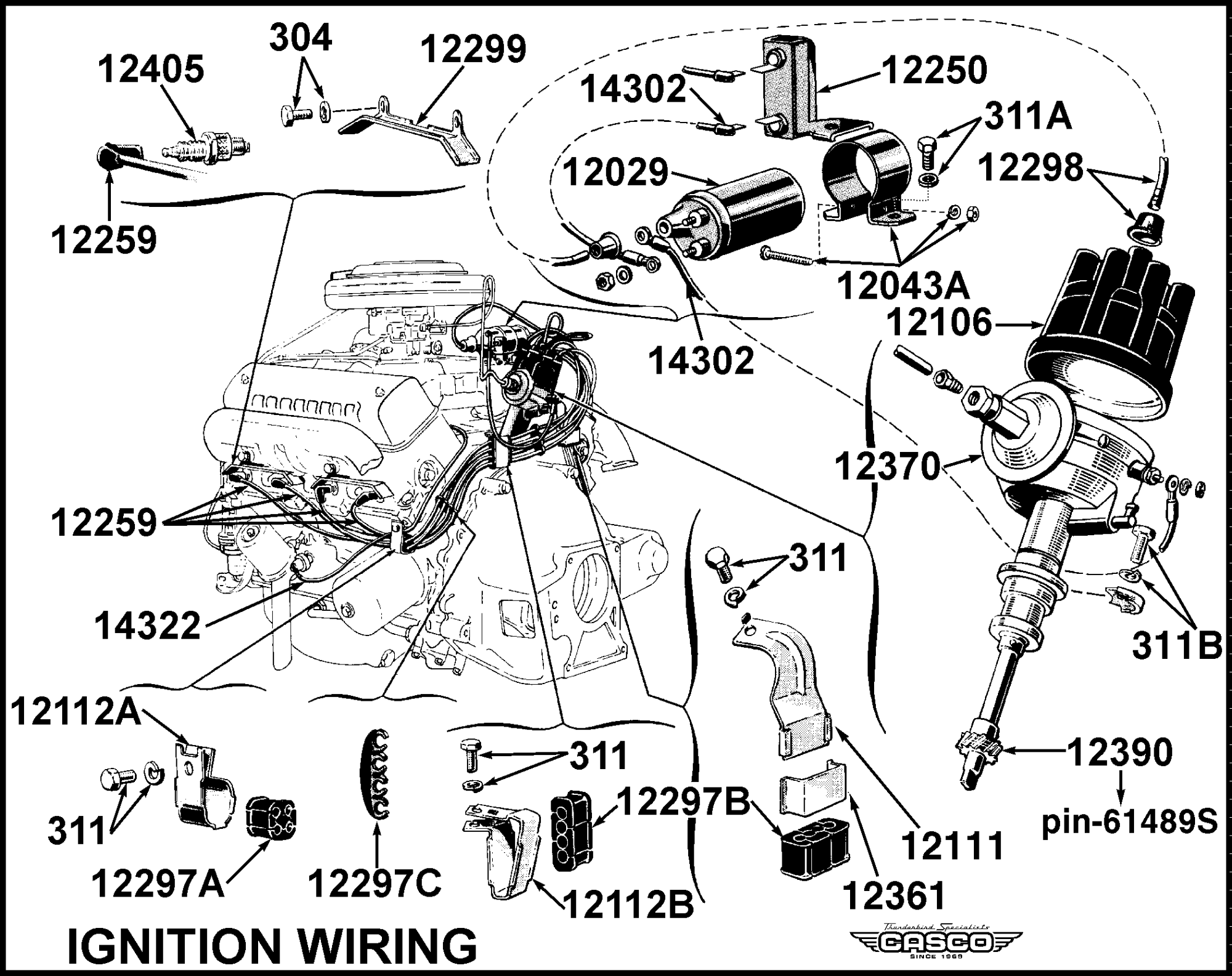 hight resolution of spark plug wire install kit 1955 classictbird comimages ignition wiring png