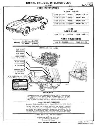 1975 Mitchell Foreign Car Collision Estimator Guide 240Z