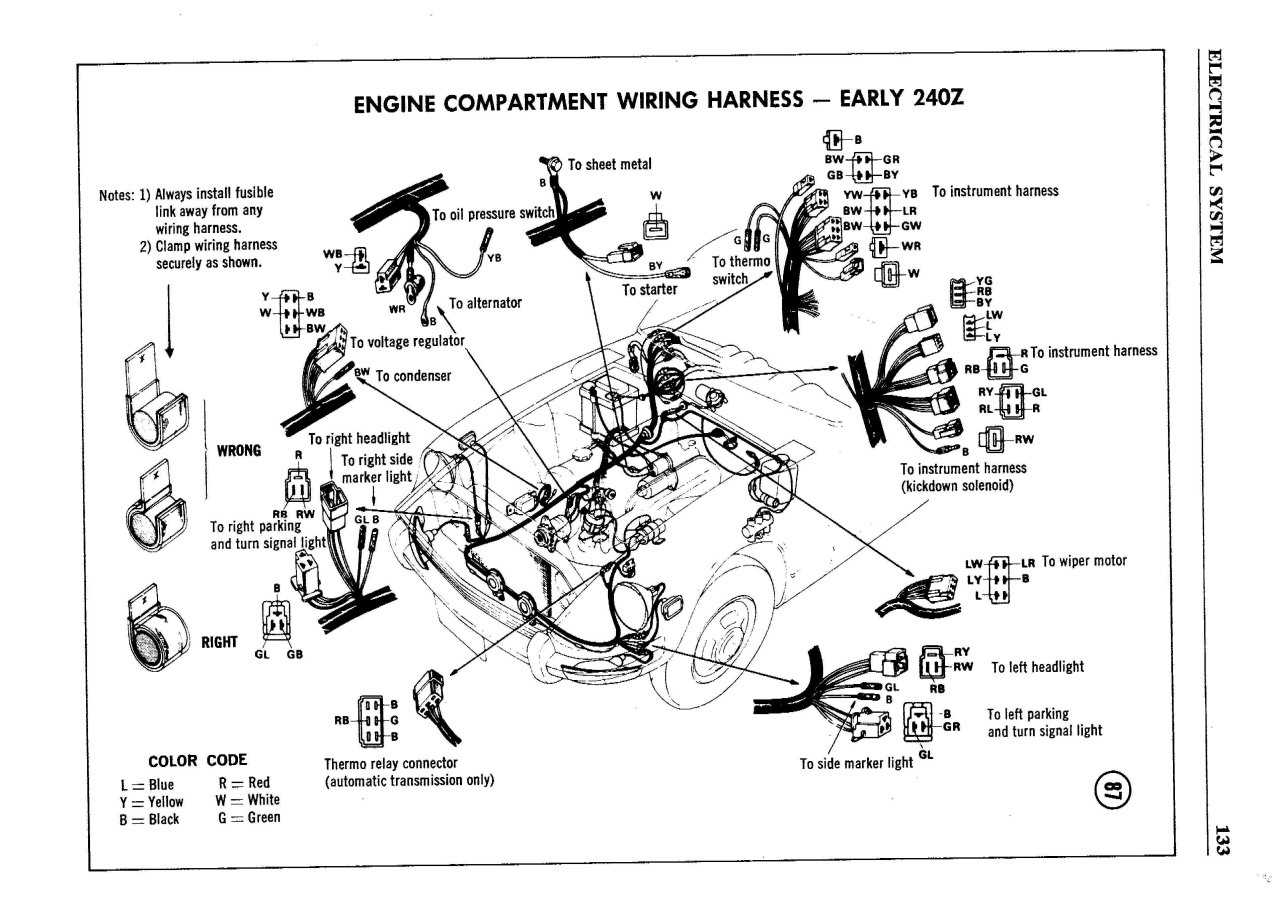 1971 datsun 510 wiring diagram mitsubishi lancer audio 1973 240z great installation of serie i color page 2 electrical the rh classiczcars com 620 headlight