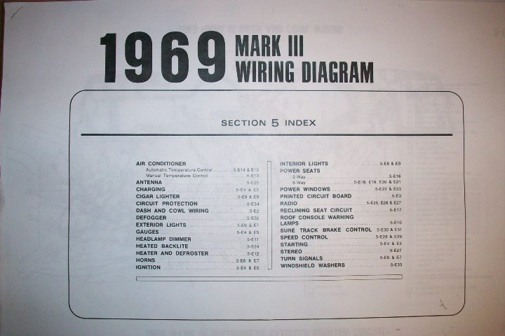 1969 Lincoln Continental And Town Car Factory Wiring Diagram Original