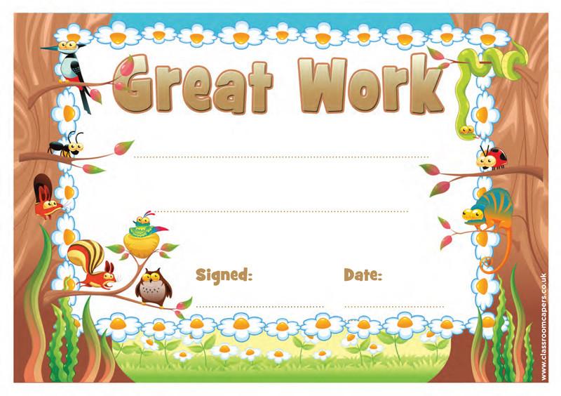 School Certificates Great Work 30 Certificates For Kids