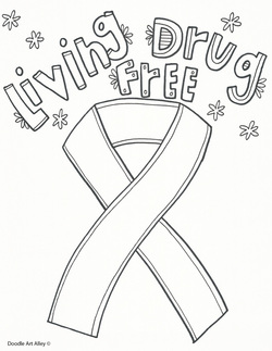 red ribbon week coloring pages # 4