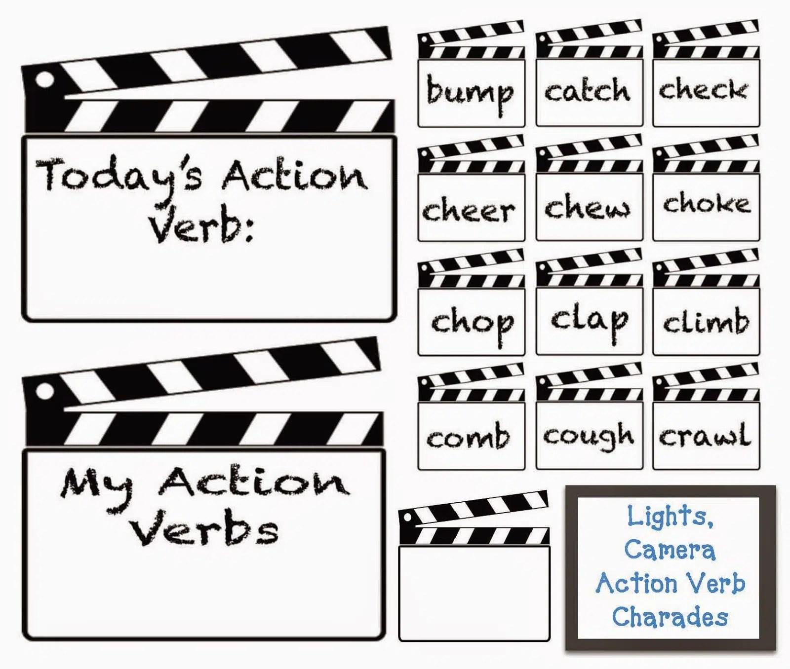 Lights Camera Action Verbs Charades
