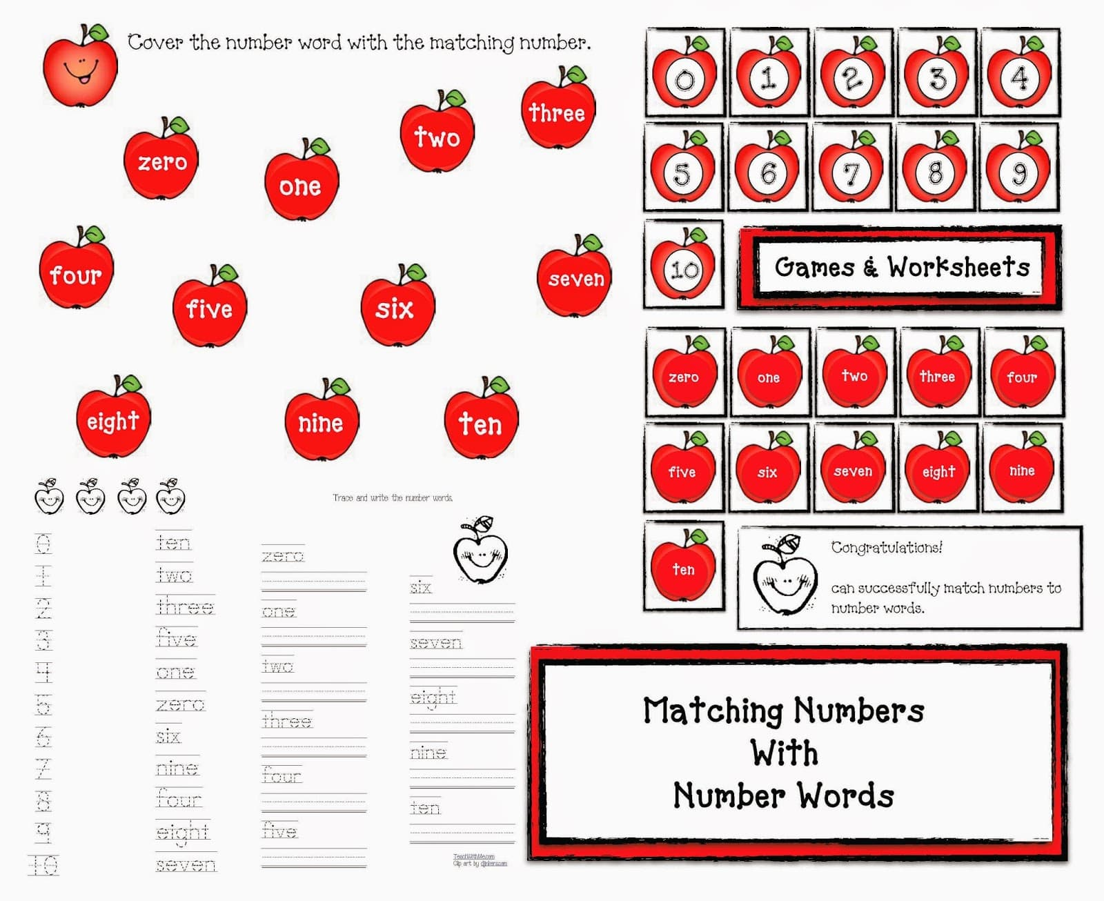 Apple Games Matching Numbers With Number Words