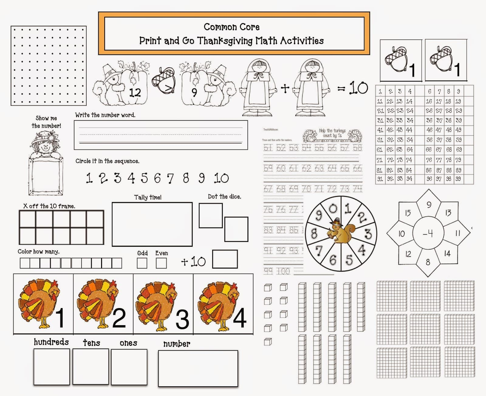 hight resolution of Common Core Thanksgiving Math Packet - Classroom Freebies
