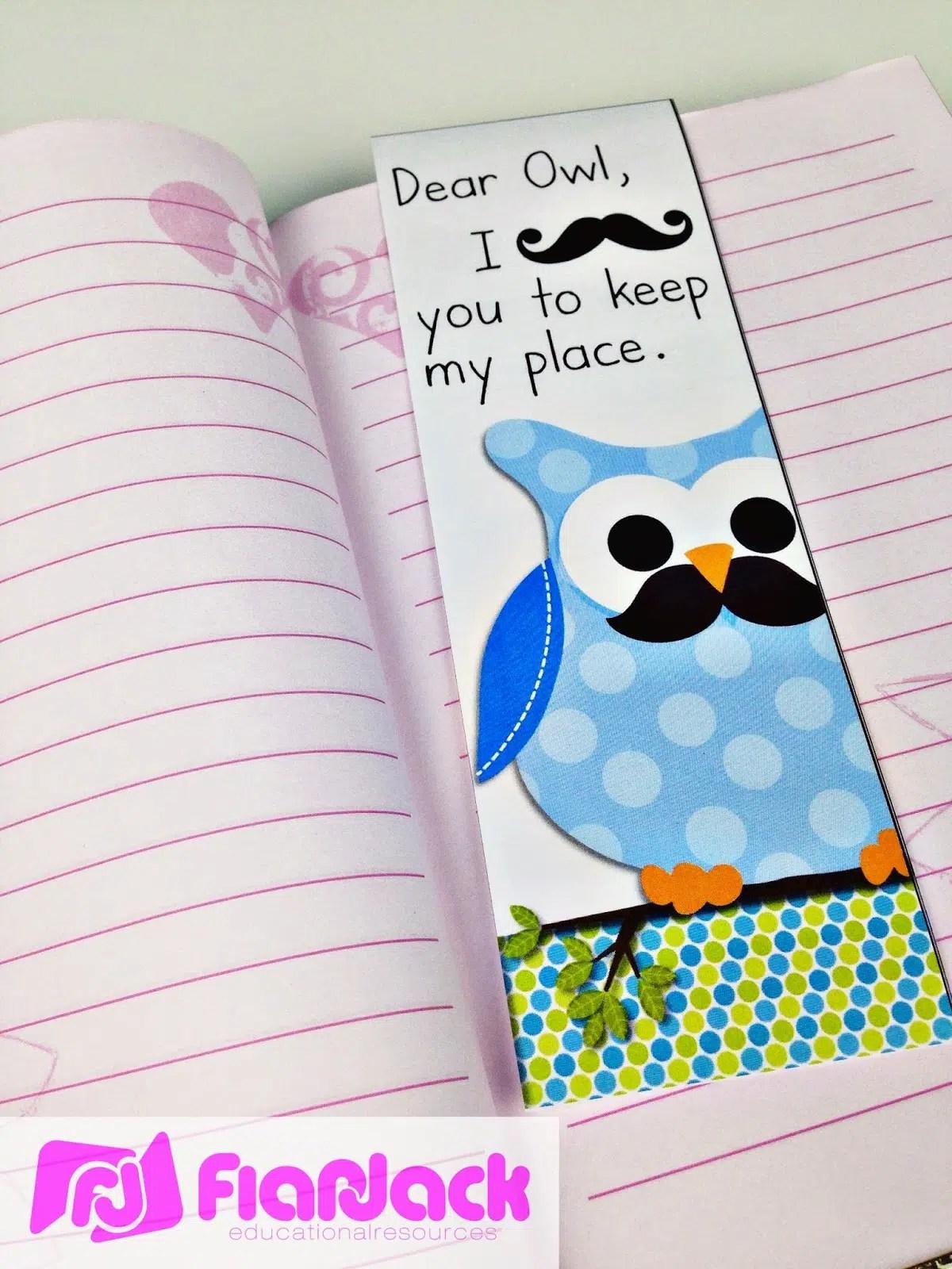 Free Mustache Owl Bookmark