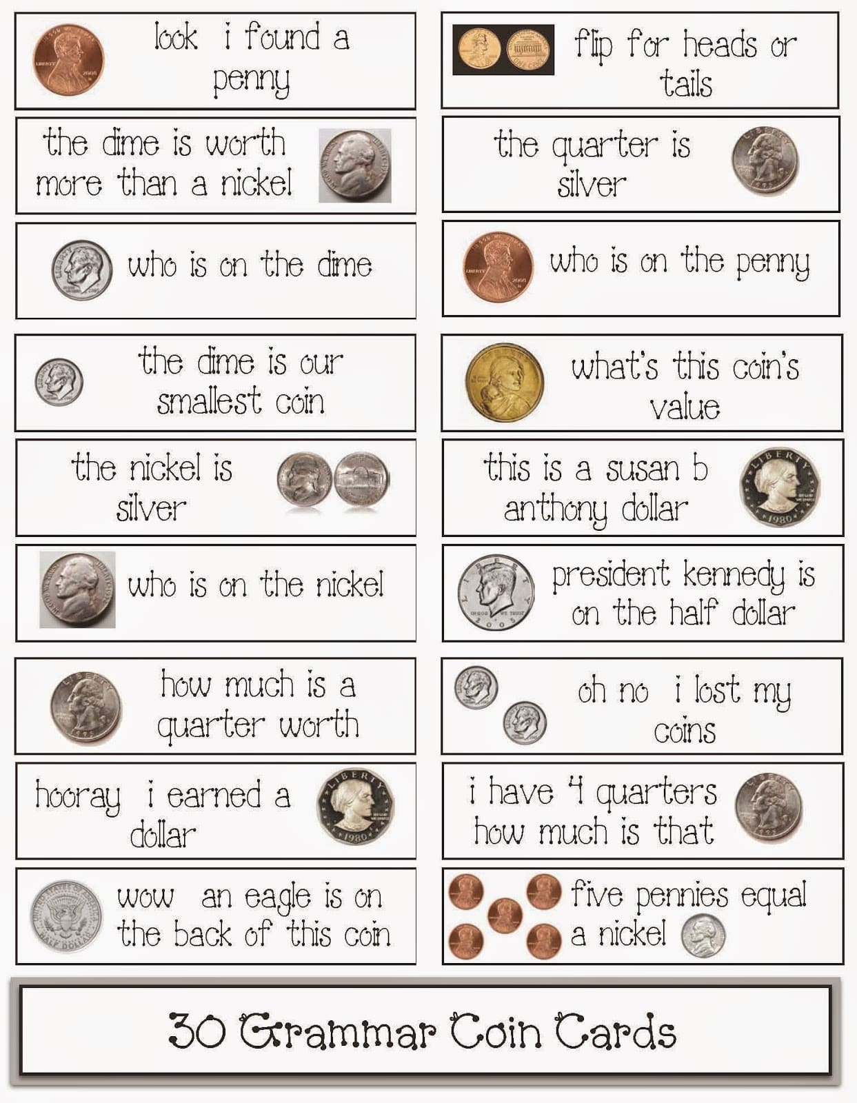 30 Coin Themed Grammar Cards