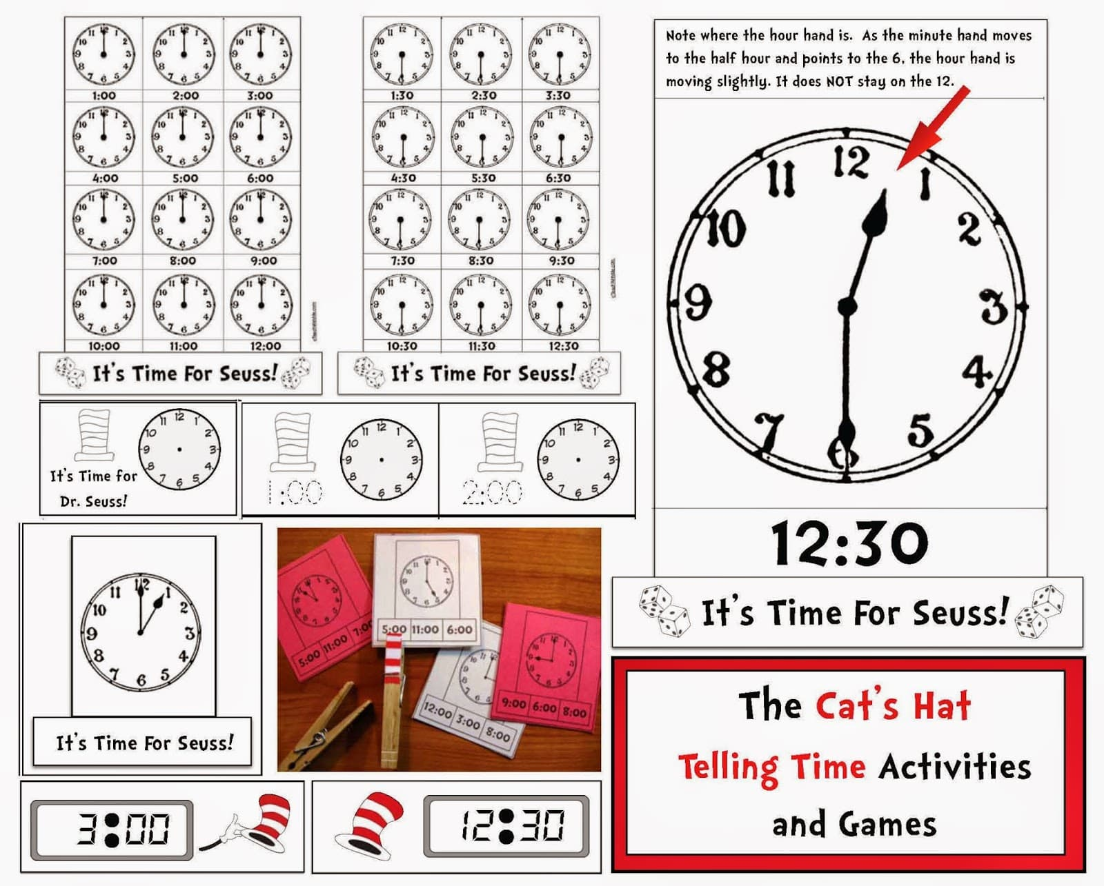 Seuss Themed Telling Time To The Hour Amp Half Hour Digital