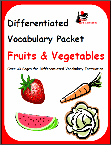 Fruits and Vegetables ESL Vocabulary Packet from Raki's ...