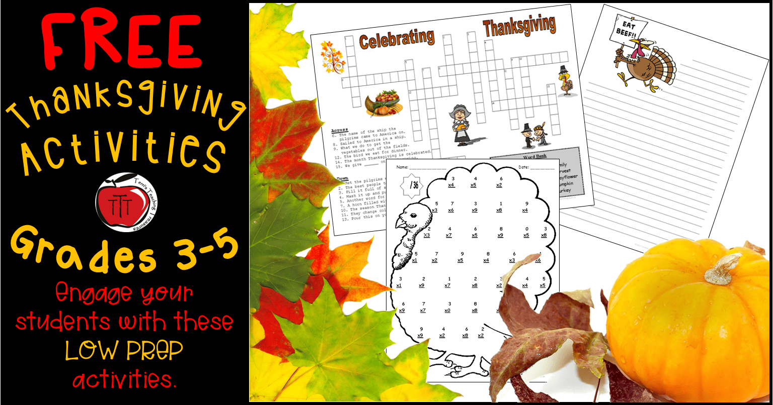 Free Thanksgiving Worksheets For Grades 3 5