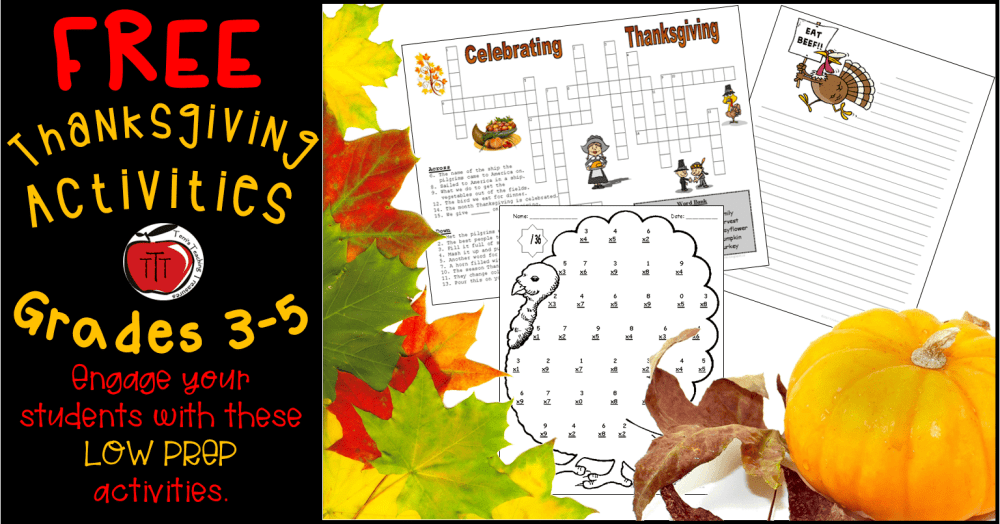 medium resolution of Free Thanksgiving Worksheets for Grades 3-5 - Classroom Freebies