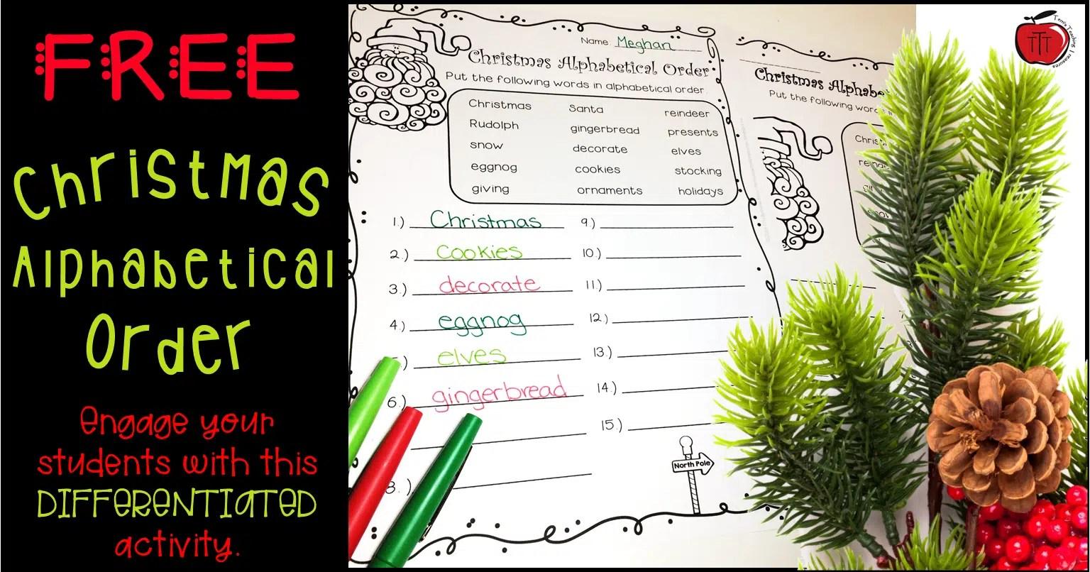 Free Christmas Alphabetical Order Worksheets