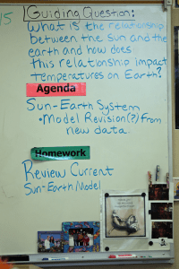 Guiding Question, Agenda, and Homework on Lisa Hegdahl's 8th Grade Science Classroom Whiteboard.