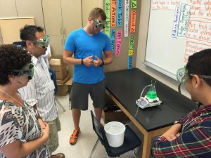 Teachers in the Grades 2 and 5 Galt/Tracy NGSS Early Implementer Institute conducting the distillation experiment.