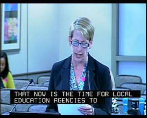CSTA President and 8th Grade Science Teacher Lisa Hegdahl presents during public comment to the State Board of Education on May 11, 2016.