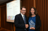 State Deputy Superintendent Tom Adams presents the PAEMST California State Finalist Award to Susan Barkdoll.