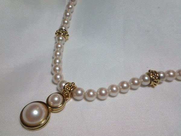 Monet Bridal Vintage Pearl Gold Pendant Necklace