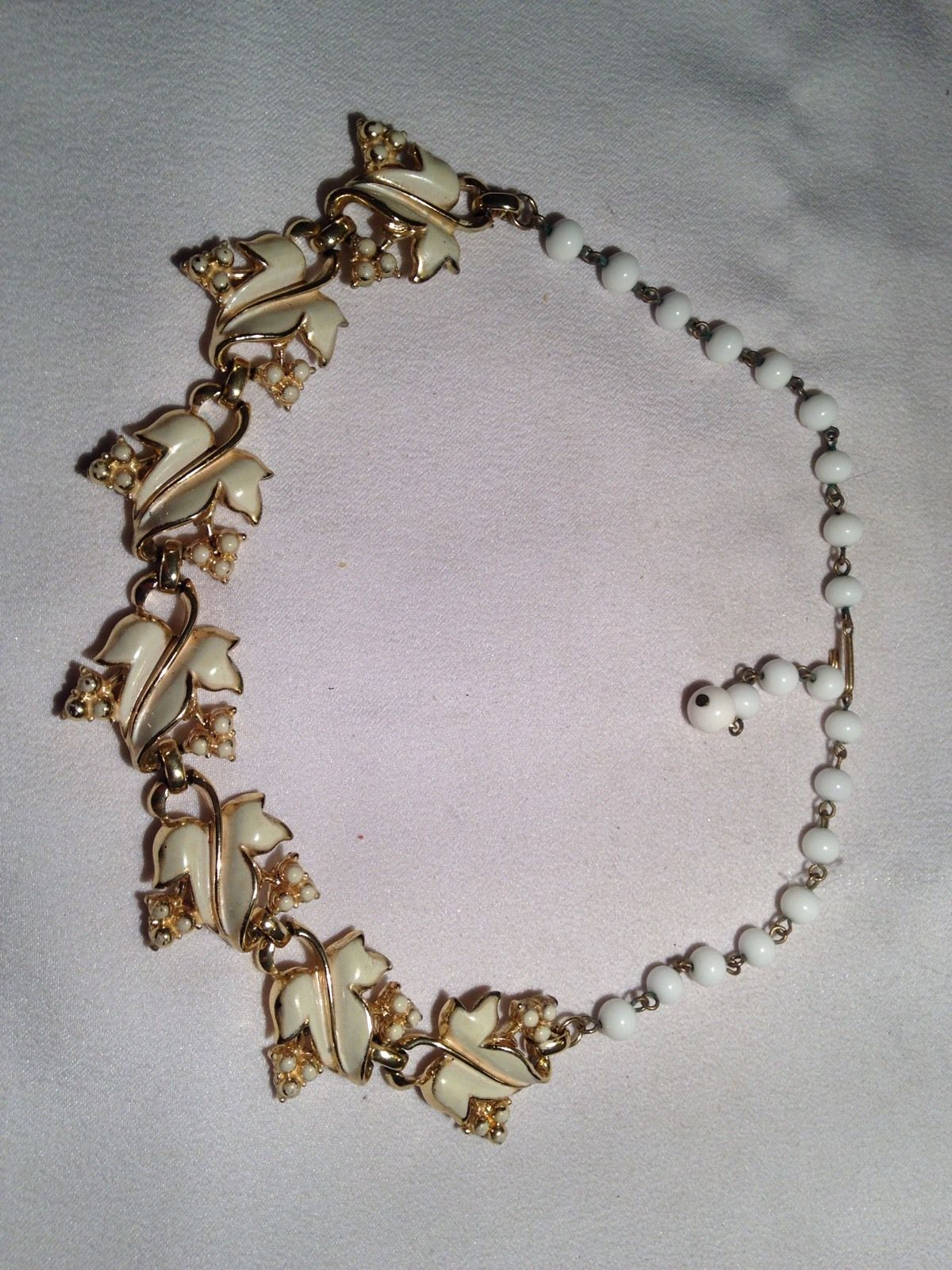 Vintage Estate Coro Pat Pend Cream Enamel Leaf Pearl Bead