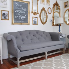 Diy Reupholster Living Room Chair What Type Of Tile Is Best For How To A Sofa And Tuft Thrift Store Jpg