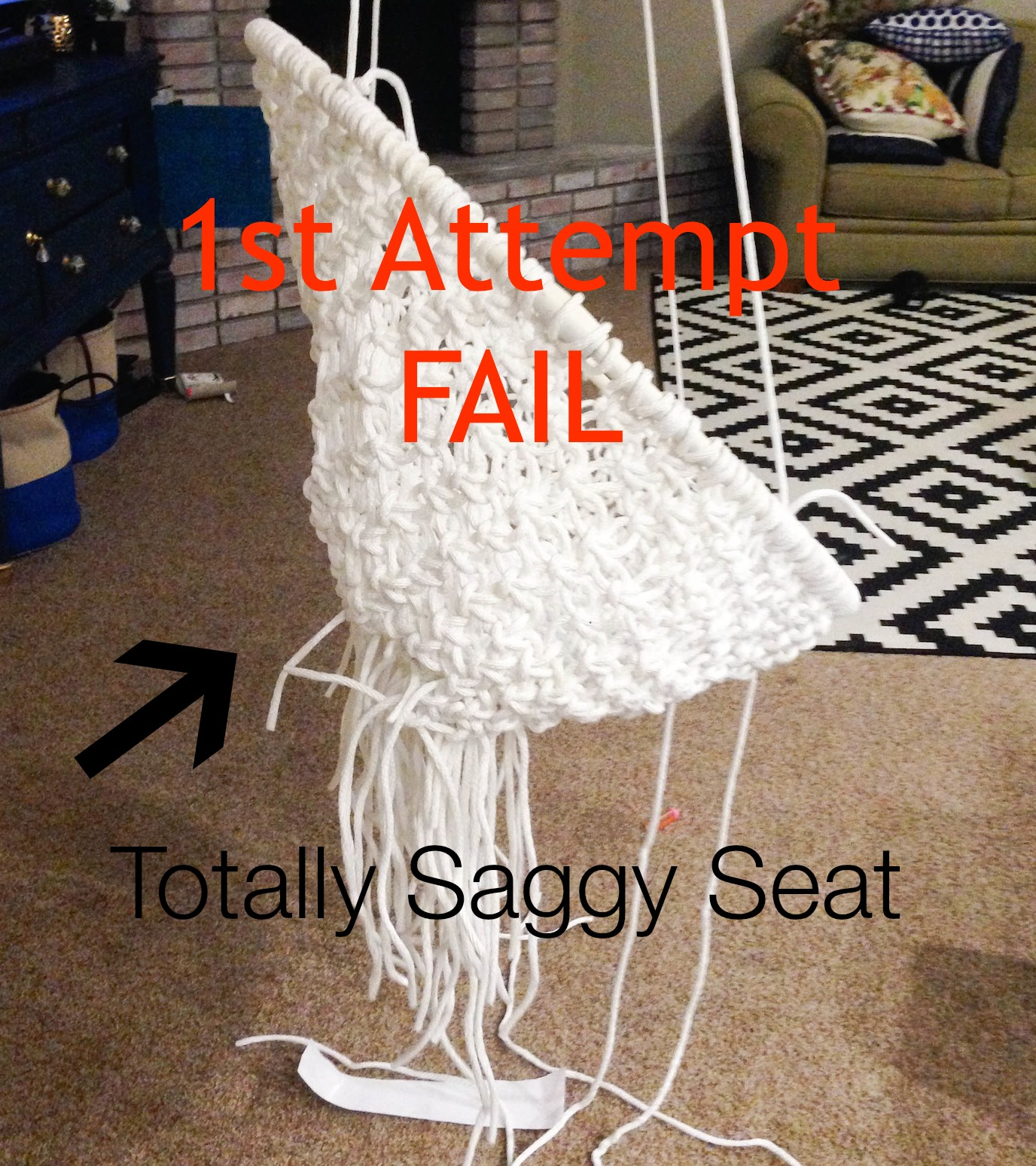 white bohemian hanging chair wombat accessories diy macrame 1st attempt