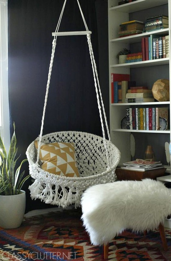 hanging chair urban outfitters teal side diy macramé