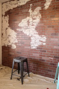 DIY Faux Brick Wall {Indoor Accent Wall}