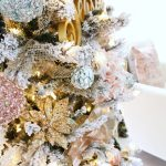 Flocked Christmas Tree With Pink And Gold Accents Classy Clutter