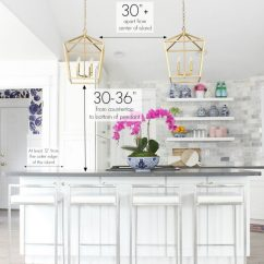 Kitchen Island Pendant Lights Lighting Over Sink Ideas And Height Diagrams For Light Placement
