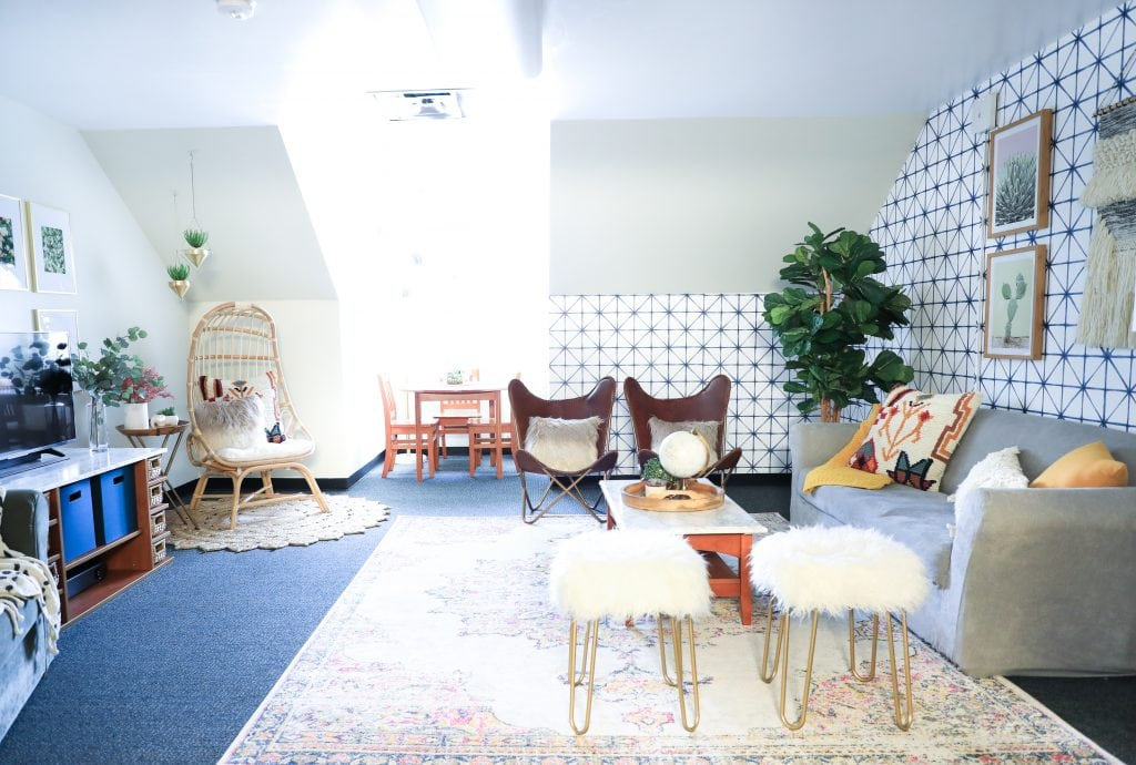 hanging rattan chair baby high wood brooklyn and bailey's dorm room makeover - classy clutter