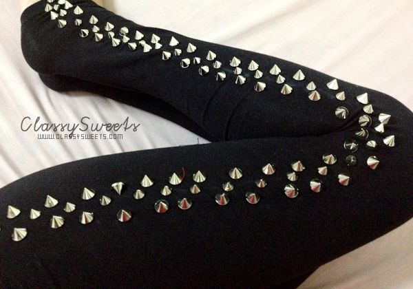 Romwe: Rivets Detail Sides Leggings