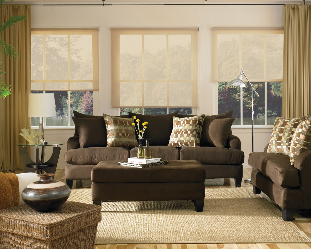 decorating ideas for living room with brown couch loveseat and chairs blinds shades