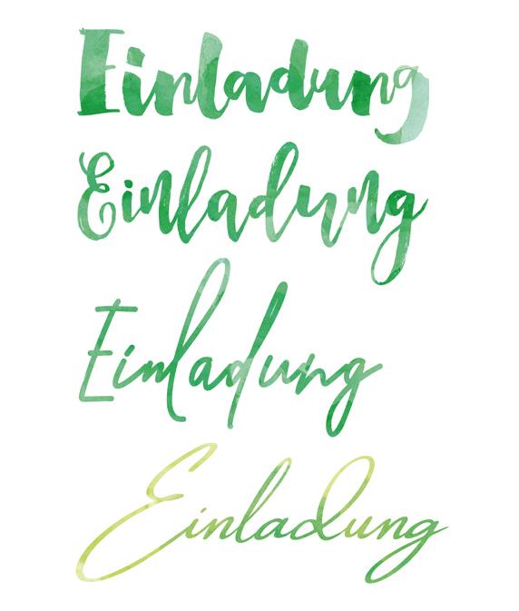Verschiedene Versionen einer geschwungenen Schrift in Aquarell Optik von Claudia Link Fotografie und Grafikdesign aus Nürnberg Erlangen Roth